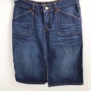 Express Denim Straight Fit Skirt 3/4 Knee Length